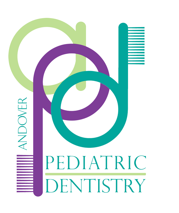Light green, purple and teal Andover Pediatric Dentistry logo, where the P and D form toothbrushes